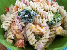 Ranch Pasta Salad- 1c Greek yogurt, 1/4c Miracle Whip, 1pkg (+ to taste) ranch dressing mix, 1#pasta, 2large carrots, 1 1/2c broccoli, 1c @ham & cheese, 1/2@yellow & red bell pepper. Combine yogurt, miracle whip & ranch mix; set aside. Cook pasta until al dente. Drain/rinse w/cold water, drizzle w/canola oil so it doesn't stick. Chop veggies, ham & cheese into bite size pcs. Combine w/pasta & 3/4 of dressing (add more if too dry)Refrigerate at least 1hr before serving.