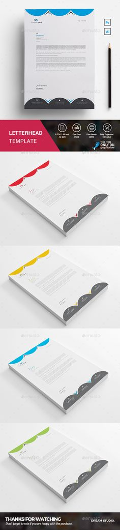 Buy Letterhead by DreamStudio-eg on GraphicRiver. This is a Simple Creative Letterhead Psd. A simple exclusive letterhead for all kind of business and personal purpose. Letterhead Printing, Stationery Printing, Letterhead Design, Letterhead Template, Stationery Templates, Print Templates, Design Templates, Fonts, Stationary