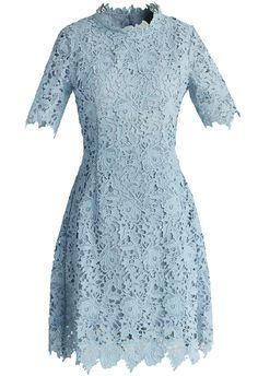 Chicwish - Grace Flower Lace Open-back Dress in Slate Blue.