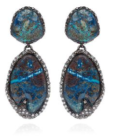 Alexis Bittar Antiqued Rhodium Chrysocolla Cordova Clip-On Earrings | Jewellery by Alexis Bittar | Liberty.co.uk