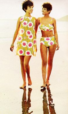 1968 Beach Wear vintage fashion style color photo print ad models magazine bikini shift dress mod floral print 60s 70s yellow white pink mini sleeveless summer casual bathing suit