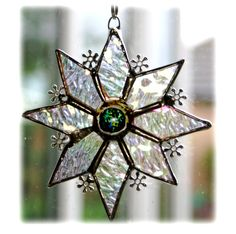 Sparkly Star Suncatcher Stained Glass snowflake handmade 9.5cm