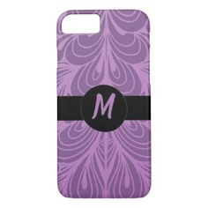 Monogram Purple Abstract Feather Floral Pattern iPhone 8/7 Case - girly gifts special unique gift idea custom
