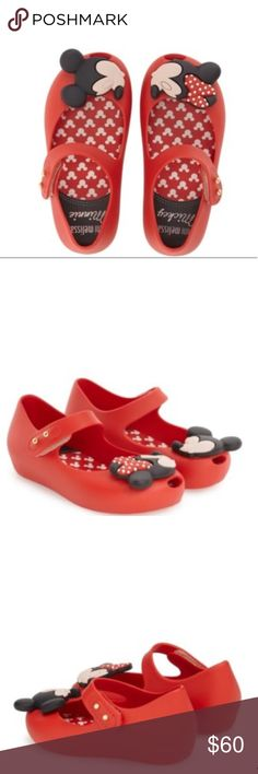 🆕🎉Mini Melissa🎉 Ultragirl Disney Twins Mary Jane Flat. Waterproof and fruit-scented PVC. Adjustable hook-and-loop allows for easy on and off. Peep toe. Tacked applique. Lightly padded footbed. Grip sole. 🚫trades. 🚫low ball offers Mini Melissa Shoes
