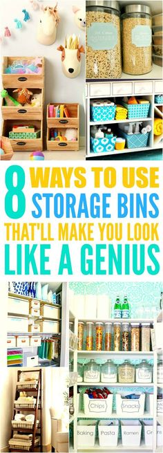 These 8 life changing storage bin hacks are THE BEST! I'm so happy I found these GREAT tips! Now I have some good ideas on how to organize my rooms! Definitely repinning for later!