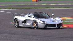 Silver Ferrari LaFerrari hits the track! Start & Acceleration Sounds!