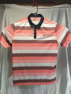c1effb56e Nike Golf Tour Performance Dri Fit Polo Shirt Salmon Striped Men s size XL   fashion