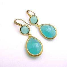 gold plated brass framed ice mint glass quartz double drop with vermeil gold hook with cz. - Free US shipping. $38.00, via Etsy.
