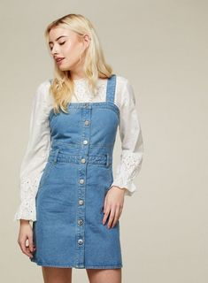 495e67909b Blue Denim Button Detail Pinafore Dress. Denim PinaforePinafore DressMiss  Selfridge ...