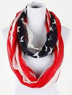 """new STARS AND STRIPES womens Red Blue & White FLAG INFINITY SCARF 80"""" #unbranded #Scarf"""