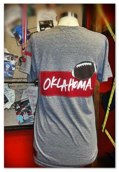 Oklahoma Patch With Football Classic Crew Neck Athletic Gray T Shirt