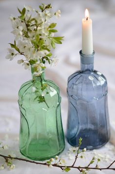 coloured glass, old and new as vases or holding candles perfect for your centerpieces just perfect