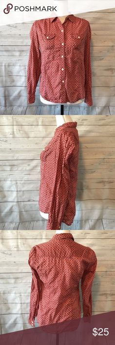 """Lucky Brand Orange Button Down Shirt Size Small Lucky Brand Orange Button Down Shirt Size Small    Approximate Measurements    Armpit to armpit: 17""""    Sleeve (from armpit to end of sleeve): 17.5""""   Length (from top of shoulder to bottom of shirt): 23.5"""" Lucky Brand Tops Button Down Shirts"""