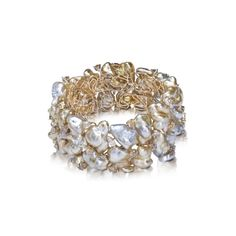 Yvel Baroque Souffle Pearl and Diamond Gold Bracelet