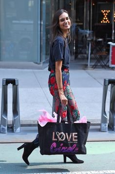 Gizele Oliveira leaving the fittings for the Victoria's Secret Fashion Show at the VS headquarters in NYC.