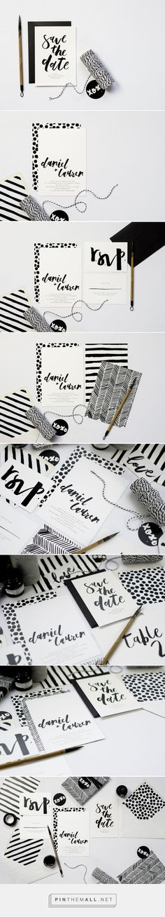 Emma Jo | Rowney Rowney is a playful, contemporary suite full of hand painted, monochrome patterns and custom brush lettering. What a way to make one color work!