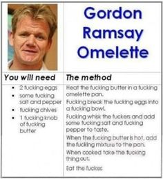 Gordon Ramsey Hilarious Gordon Ramsay Memes That Will Make You Cry - Food Meme - Gordon Ramsey Hilarious Gordon Ramsay Memes That Will Make You Cry The post Gordon Ramsey Hilarious Gordon Ramsay Memes That Will Make You Cry appeared first on Gag Dad. Omelettes, Omelette Recipe, Thing 1, Thats The Way, Laughing So Hard, Just For Laughs, The Funny, Funny Farm, Daily Funny