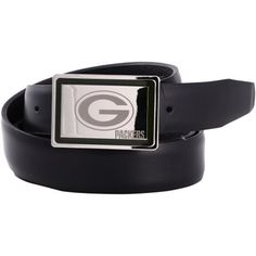 Green Bay Packers Engraved Buckle Leather Belt - Black