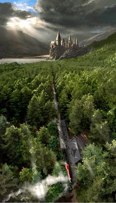 Harry Potter Train and Hogwarts Castle Magie Harry Potter, Arte Do Harry Potter, Harry Potter Love, Harry Potter Universal, Harry Potter World, Harry Potter Hogwarts, Harry Potter Castle, Hery Potter, James Potter