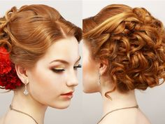 Curly Prom Updo Hairstyle For Diamond Oval Faces Sophie - Kids and parenting Grecian Hairstyles, Cute Hairstyles Updos, Cute Hairstyles For Short Hair, Formal Hairstyles, Vintage Hairstyles, Updo Hairstyle, Teenage Hairstyles, Hairstyles Pictures, Everyday Hairstyles