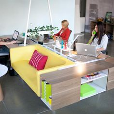 Bivi desking with integrated sofa