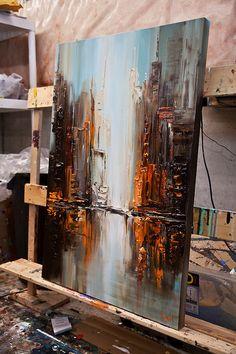 Ciudad ORIGINAL pintura centro abstracto moderno por OsnatFineArt