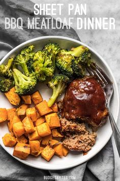 Make an entire dinner for two at one time with this fast and easy Sheet Pan BBQ Meatloaf Dinner. Perfect for meal prep! #sheetpan #meatloaf #easydinner #dinnerrecipes #easyrecipes #easyrecipe