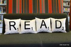 READ Scrabble Tile Letter Pillows via Etsy user littlehousefrau