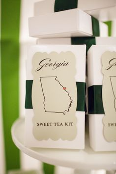 Favors - Georgia Sweet Tea Kit | Charlotte Wedding featured in The Knot North Carolina | Founder's Hall | Wedding design by The Graceful Host | Flowers by New Creations Flower Company | Photography by Rachel Fesko Photography | Catering by Aria Restaurant and Sonoma Restaurant Group