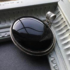"""Black Onyx Pendant Native American hand crafted. Sterling silver and black onyx. Beautiful statement piece! Signed by artist. A little over 2"""". Jewelry Necklaces"""