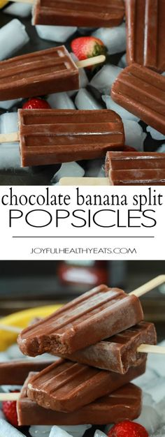 Healthy sugar free and dairy free Chocolate Banana Split Popsicles made with only 5 ingredients! A perfect dessert treat to cool you down this summer! | joyfulhealthyeats.com #glutenfree #cleaneating #sugarfree