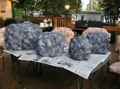 Paper Mache rocks for our campfire. Fake Rock, Stage Props, Theatre Props, Jungle Theme, Jungle Party, Jungle Safari, Trunk Or Treat, Vacation Bible School, Dinosaur Party