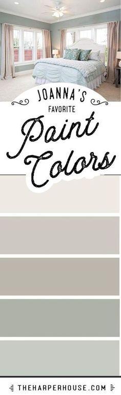 Joanna Gaines favorite paint colors Fixer Upper paint colors Modern Farmhouse paint colors best neutral paint colors via theharperhouse Fixer Upper Paint Colors, Best Neutral Paint Colors, Favorite Paint Colors, Interior Paint Colors, Paint Colours, Interior Design, Wall Colors, Interior Ideas, Favorite Color
