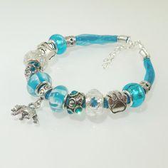 European Charm Bracelet Handmade Aqua Blue Turquoise by BekisBeads