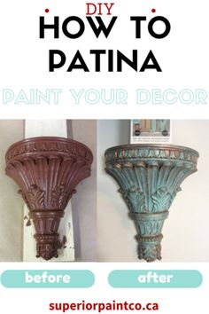 I am so excited for this tutorial as I've been dying to use these new kits made by Modern Masters that we're so excited to now carry in kits and kits! Patina Paint, Copper Paint, Patina Color, Furniture Painting Techniques, Paint Techniques, Painting Furniture, Pottery Painting, Diy Painting, Metallic Painted Furniture