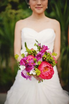 pink, purple and green wedding bouquet designed Christa Rose