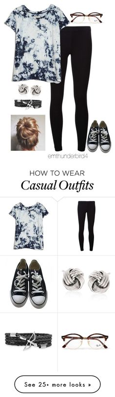 """""""#67: Casual"""" by emthunderbird4 on Polyvore featuring James Perse, Converse, Ray-Ban, Current/Elliott and Ross-Simons"""