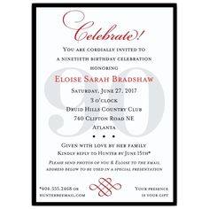 Classic 90th Birthday Invitations