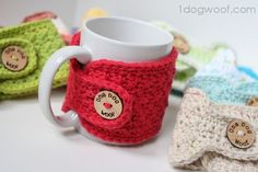 Warm and Toasty - Crocheted Mug Cozies - One Dog Woof