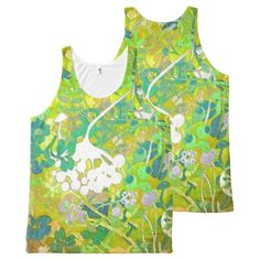 Wacky Retro Floral 2 All-Over Print Tank Top Tank Tops