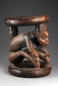 Africa | Stool from the Bamileke/Bamenda people of Cameroon | Wood, pigments