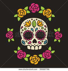 Trendy Mexican Art Tattoo Day Of The Dead Sugar Skull Dibujos Sugar Skull, Los Muertos Tattoo, Day Of The Dead Artwork, Day Of The Dead Skull, Skull Icon, Tableau Pop Art, Mexican Art Tattoos, Mexican Flowers, Sugar Skull Art