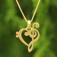 NOVICA Artisan Crafted Brushed Vermeil Music Theme Necklace (160 BRL) ❤ liked on Polyvore featuring jewelry, necklaces, accessories, bijoux, colar, pendant, vermeil, pendant jewelry, heart jewelry and heart necklace