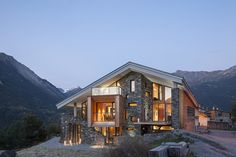 Beautiful View by Night - Mountain House Inspired by the Neighboring Rough Landscape : The Mineral Lodge, project realized by Atelier d'Architecture Christian Girard