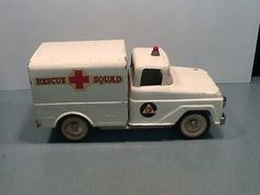 Vintage 1961 #Tonka Rescue Squad Van #105 Pressed Steel Toy Truck