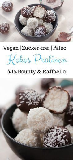 Vegane Bounty & Raffaello Pralinen | Zucker-frei, Gluten-frei & Paleo - das perfekte essbare Weihnachts Geschenk für Gesundheitsbewusste |#weihnachtsgeschenke #weihnachtsbäckerei #paleorezept #veganerezepte #zuckerfrei #gesunderezepte #bounty #schokolade #cinnamonandcoriander