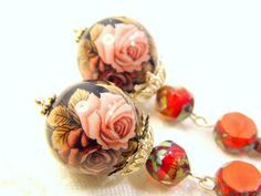 Tensha Earrings With Pink And Brown Roses On Black by juta230