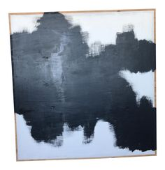 Black & White Abstract Painting on Plywood on Chairish.com