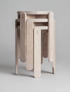 Lolly stool by Gridy // Photo by Kaja Bruskeland Norwegian design is hotter than ever, and I really wish I could visit the annual Norwegi. Wooden Furniture, Cool Furniture, Furniture Design, Stackable Stools, Stacking Chairs, London Design Festival, Wood Stool, Minimal Design, Diy Furniture