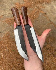 """Nathaniel Everett on Instagram: """"Finished the handles on these small camps!! Both of them are available!! $225 shipped in the USA each! International shipping is calculated…"""" Blacksmithing Ideas, Cool Knives, Custom Knives, Knifes, Tactical Gear, Swords, Wrought Iron, Weapons, Handle"""